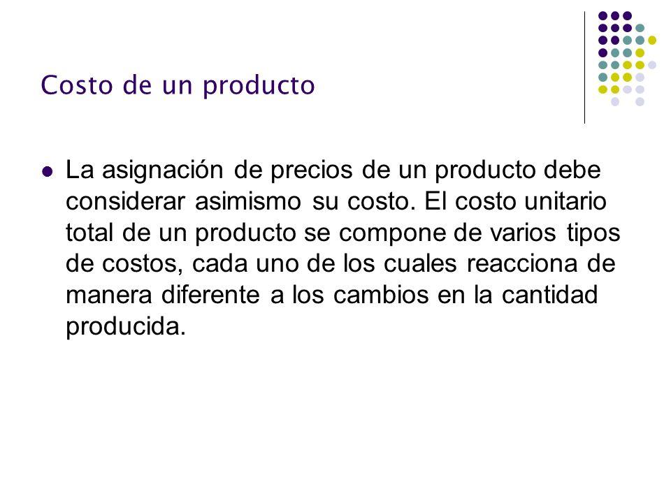 Costo de un producto La asignación de precios de un producto debe considerar asimismo su costo. El costo unitario total de un producto se compone de v