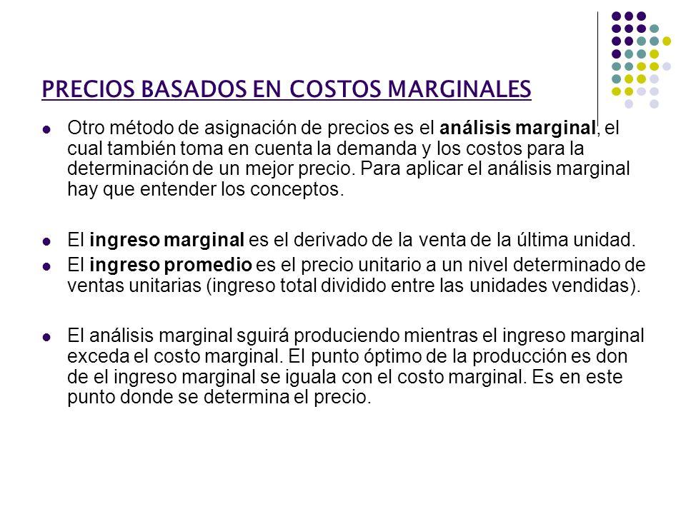 PRECIOS BASADOS EN COSTOS MARGINALES Otro método de asignación de precios es el análisis marginal, el cual también toma en cuenta la demanda y los cos