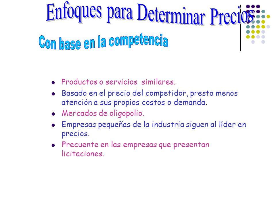 Productos o servicios similares. Basado en el precio del competidor, presta menos atención a sus propios costos o demanda. Mercados de oligopolio. Emp