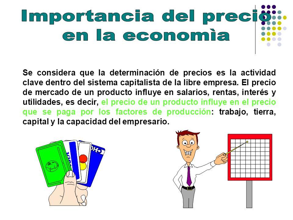 Se considera que la determinación de precios es la actividad clave dentro del sistema capitalista de la libre empresa. El precio de mercado de un prod