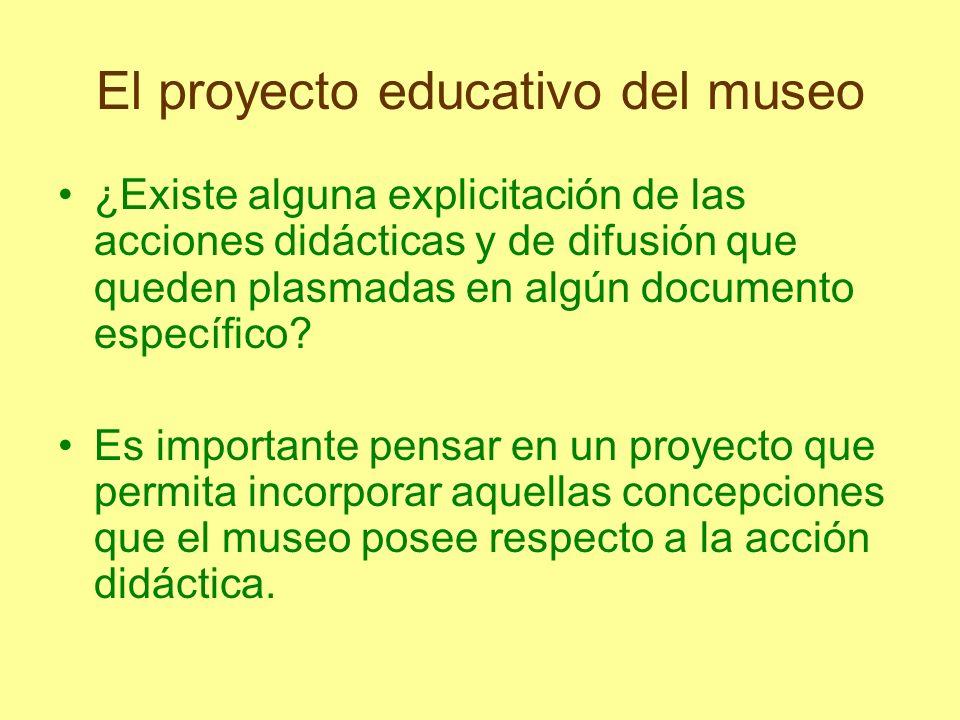 El proyecto educativo del museo ¿Existe alguna explicitación de las acciones didácticas y de difusión que queden plasmadas en algún documento específi