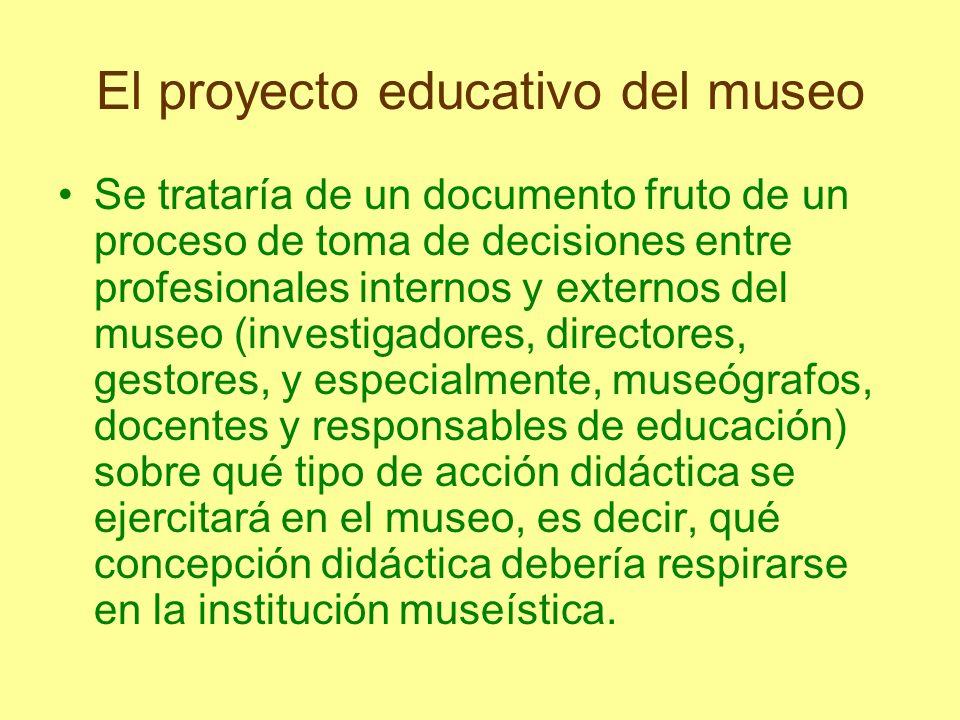 El proyecto educativo del museo Se trataría de un documento fruto de un proceso de toma de decisiones entre profesionales internos y externos del muse