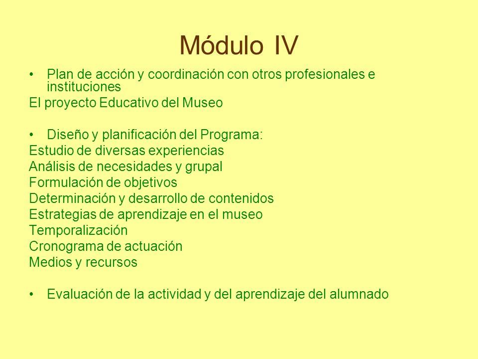 Módulo IV Plan de acción y coordinación con otros profesionales e instituciones El proyecto Educativo del Museo Diseño y planificación del Programa: E