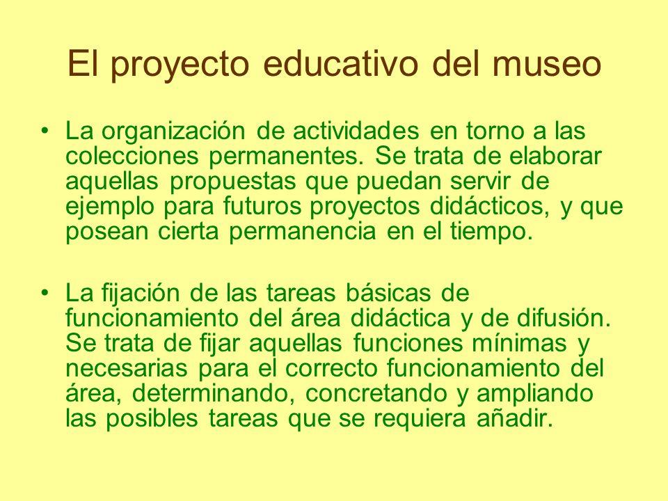 El proyecto educativo del museo La organización de actividades en torno a las colecciones permanentes. Se trata de elaborar aquellas propuestas que pu