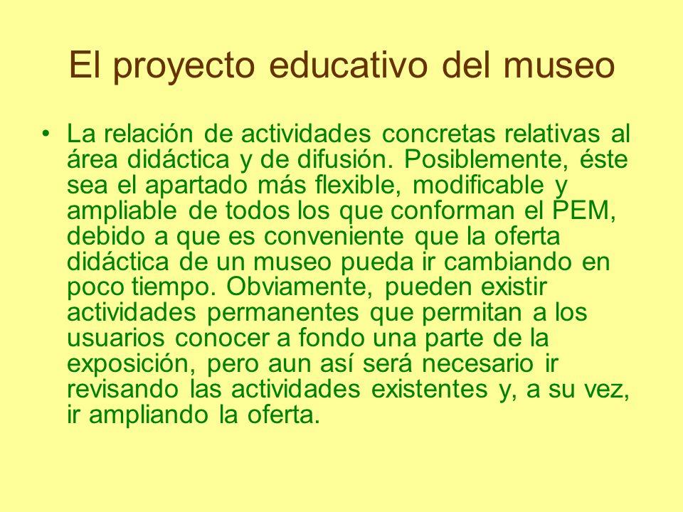 El proyecto educativo del museo La relación de actividades concretas relativas al área didáctica y de difusión. Posiblemente, éste sea el apartado más