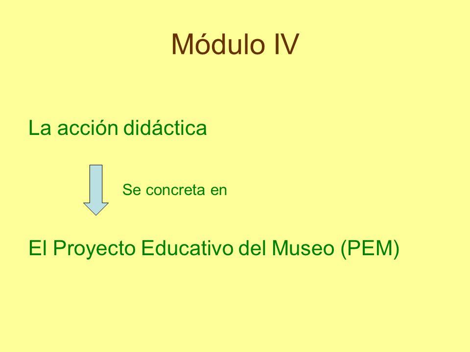 Módulo IV La acción didáctica Se concreta en El Proyecto Educativo del Museo (PEM)