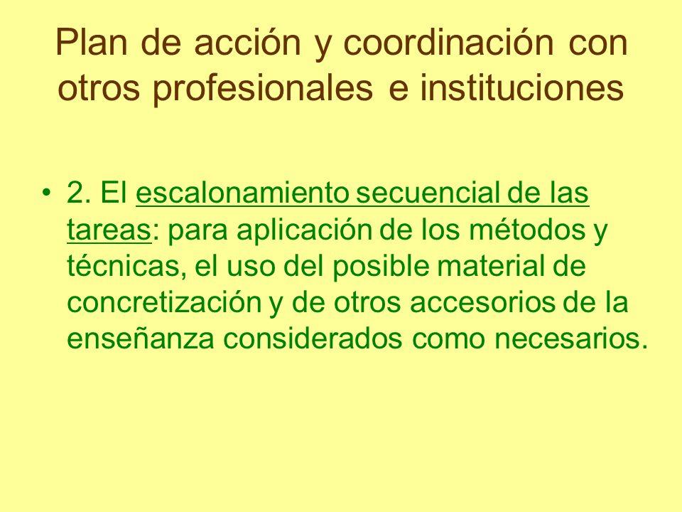 Plan de acción y coordinación con otros profesionales e instituciones 2. El escalonamiento secuencial de las tareas: para aplicación de los métodos y