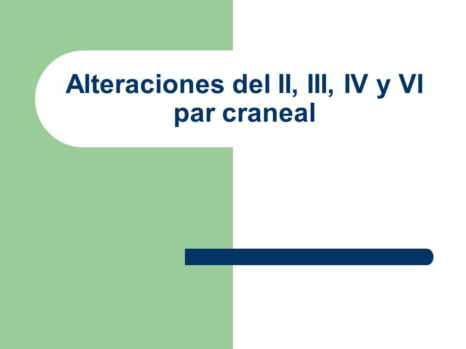 Alteraciones en II par craneal El paciente presenta alteraciones en los campos visuales según donde sean las lesiones.