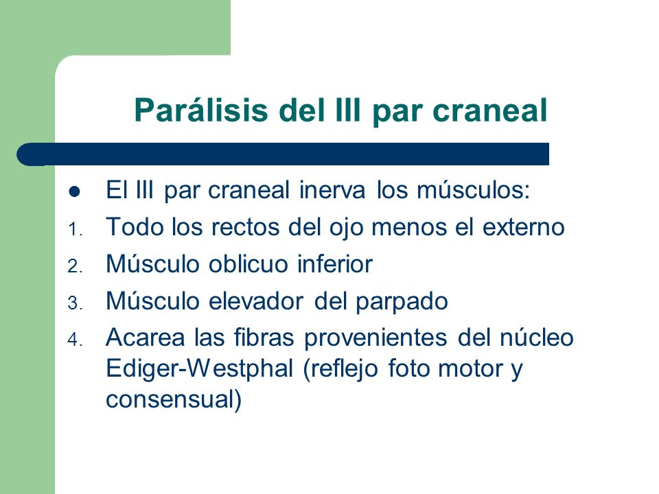 Parálisis del III par craneal El III par craneal inerva los músculos: 1. Todo los rectos del ojo menos el externo 2. Músculo oblicuo inferior 3. Múscu