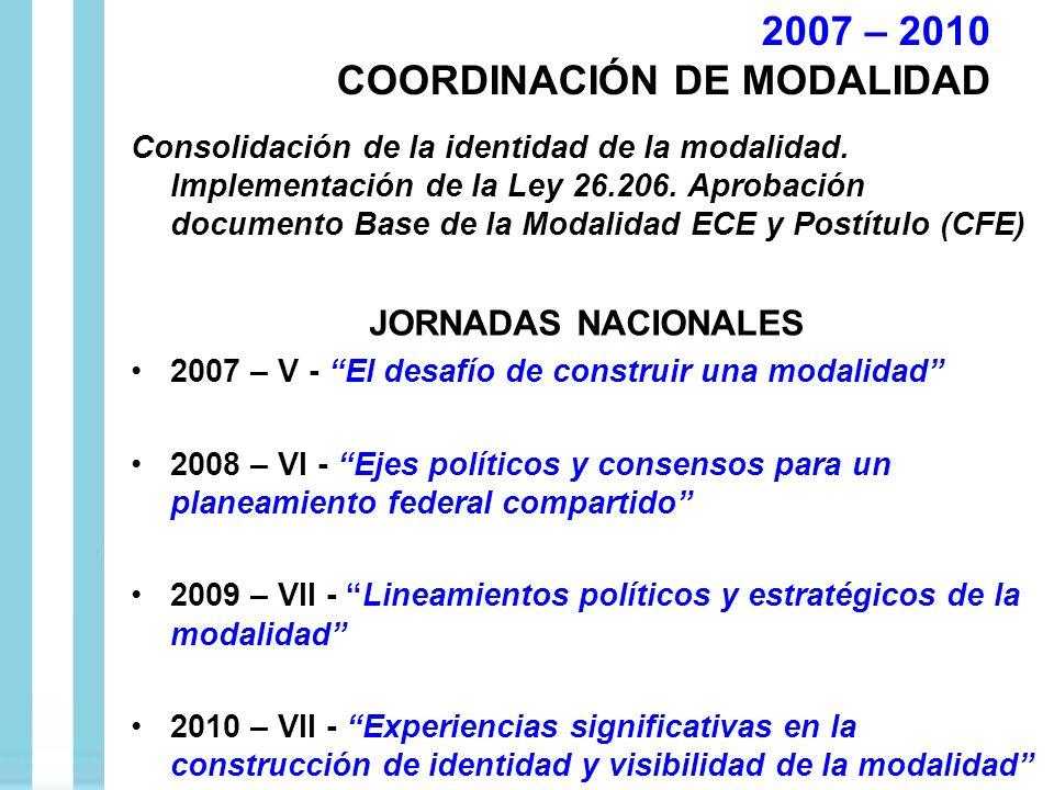 Consolidación de la identidad de la modalidad. Implementación de la Ley 26.206. Aprobación documento Base de la Modalidad ECE y Postítulo (CFE) JORNAD