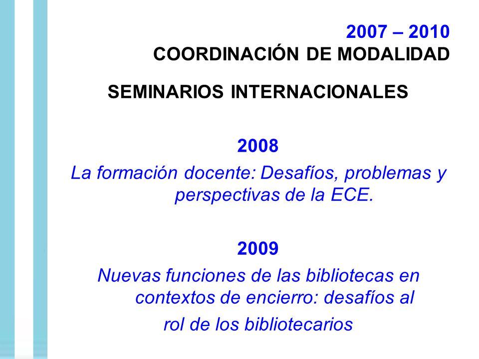 SEMINARIOS INTERNACIONALES 2008 La formación docente: Desafíos, problemas y perspectivas de la ECE. 2009 Nuevas funciones de las bibliotecas en contex