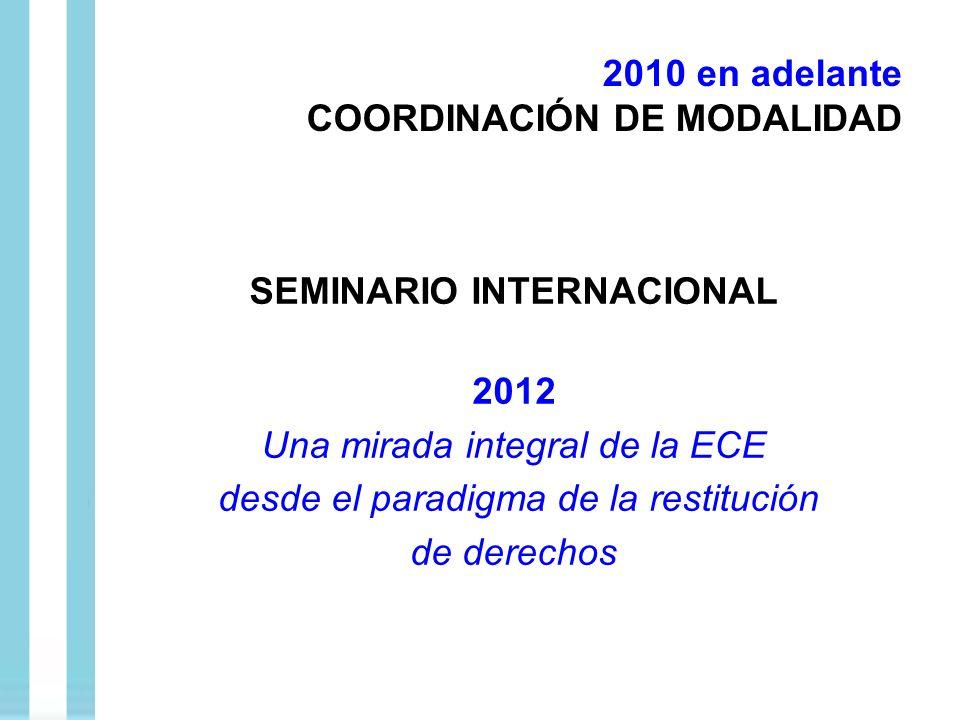 SEMINARIO INTERNACIONAL 2012 Una mirada integral de la ECE desde el paradigma de la restitución de derechos 2010 en adelante COORDINACIÓN DE MODALIDAD
