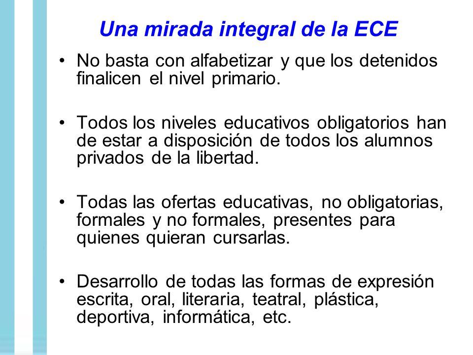 Una mirada integral de la ECE No basta con alfabetizar y que los detenidos finalicen el nivel primario. Todos los niveles educativos obligatorios han