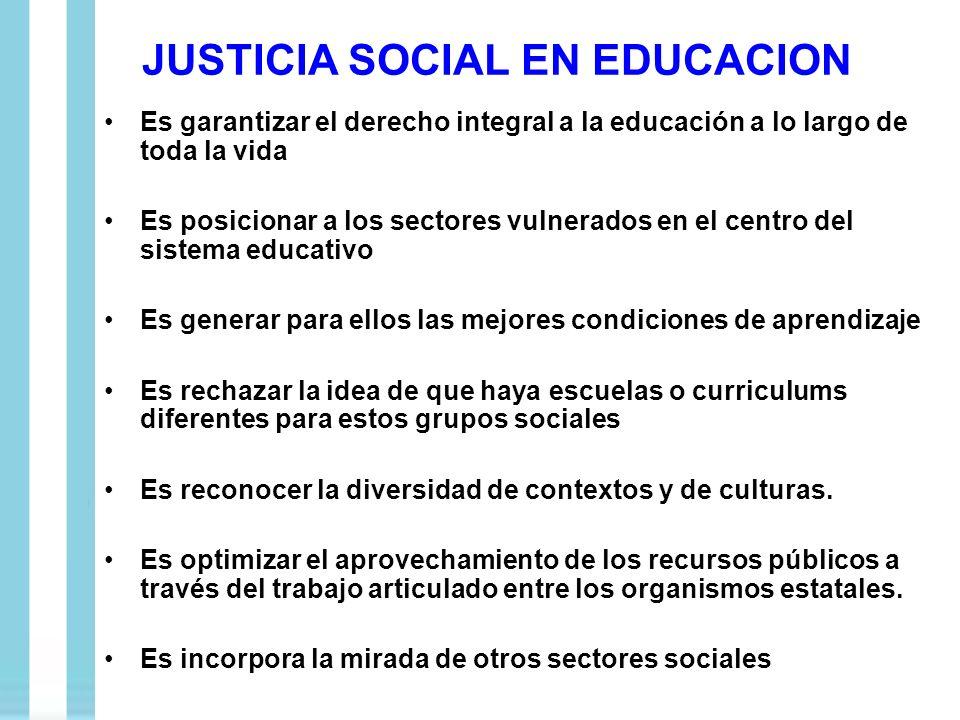 JUSTICIA SOCIAL EN EDUCACION Es garantizar el derecho integral a la educación a lo largo de toda la vida Es posicionar a los sectores vulnerados en el
