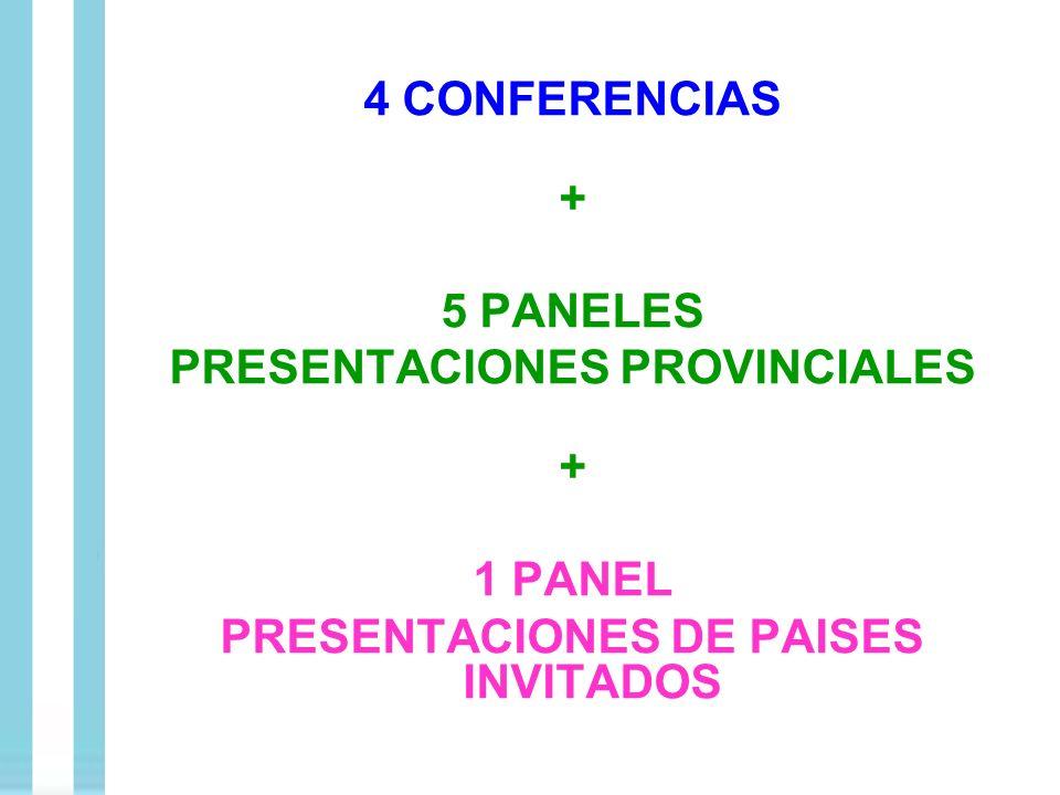 4 CONFERENCIAS + 5 PANELES PRESENTACIONES PROVINCIALES + 1 PANEL PRESENTACIONES DE PAISES INVITADOS