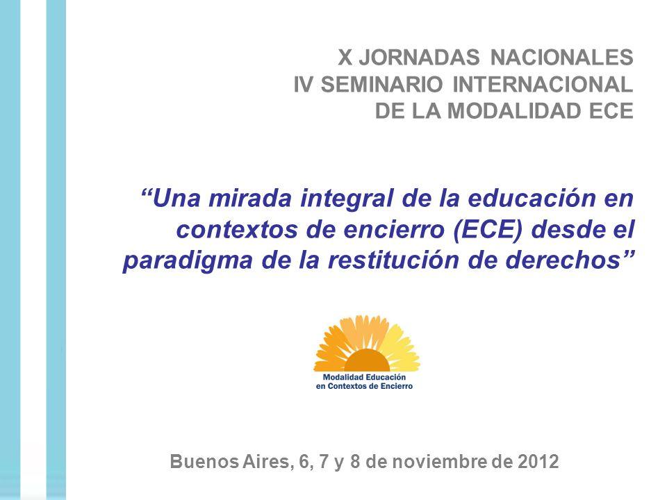 X JORNADAS NACIONALES IV SEMINARIO INTERNACIONAL DE LA MODALIDAD ECE Una mirada integral de la educación en contextos de encierro (ECE) desde el parad
