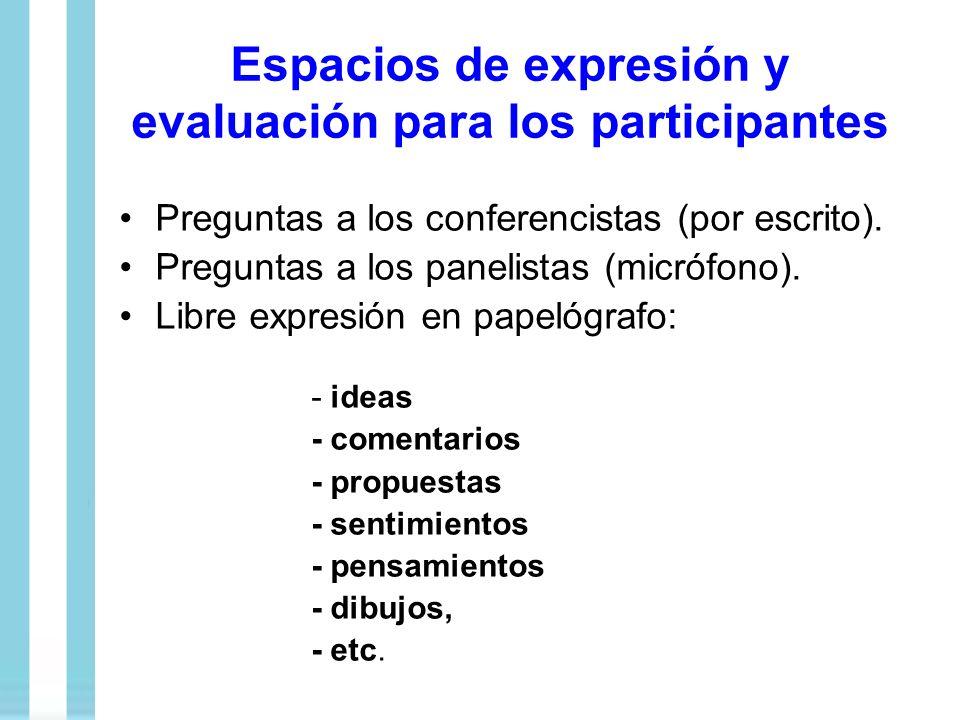 Espacios de expresión y evaluación para los participantes Preguntas a los conferencistas (por escrito). Preguntas a los panelistas (micrófono). Libre