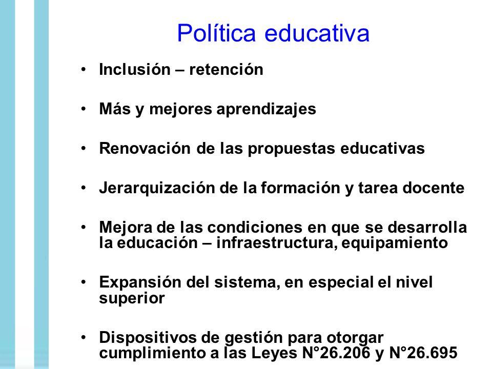 Política educativa Inclusión – retención Más y mejores aprendizajes Renovación de las propuestas educativas Jerarquización de la formación y tarea doc