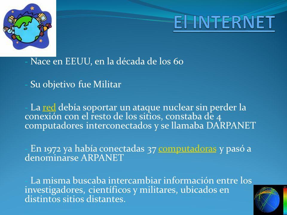 - Nace en EEUU, en la década de los 60 - Su objetivo fue Militar - La red debía soportar un ataque nuclear sin perder la conexión con el resto de los