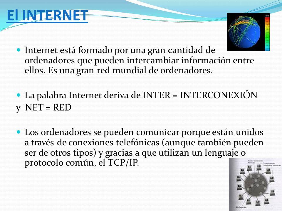 Internet está formado por una gran cantidad de ordenadores que pueden intercambiar información entre ellos. Es una gran red mundial de ordenadores. La