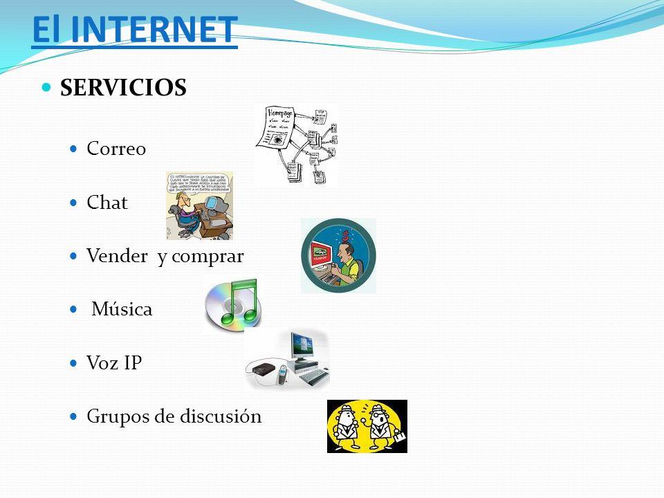 SERVICIOS Correo Chat Vender y comprar Música Voz IP Grupos de discusión El INTERNET