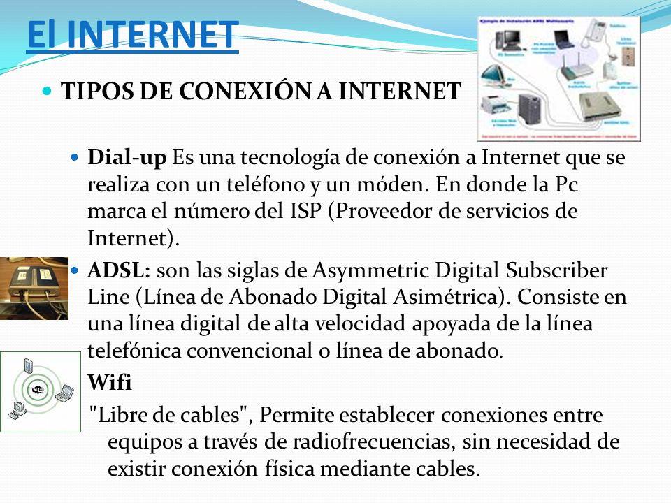 TIPOS DE CONEXIÓN A INTERNET Dial-up Es una tecnología de conexión a Internet que se realiza con un teléfono y un móden. En donde la Pc marca el númer