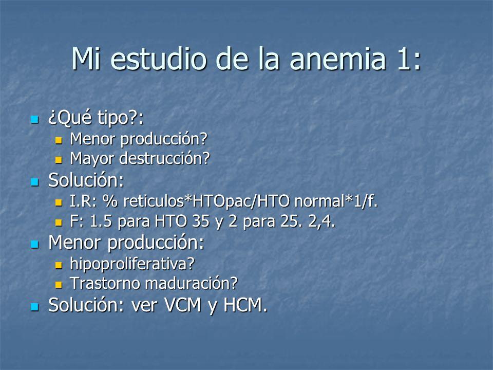 Mi estudio de la anemia 2: Trastorno maduración: Trastorno maduración: En contra VCM normal.
