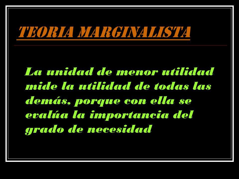 TEORIA MARGINALISTA La unidad de menor utilidad mide la utilidad de todas las demás, porque con ella se evalúa la importancia del grado de necesidad