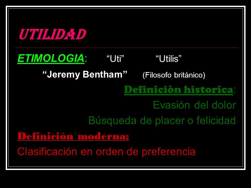 UTILIDAD ETIMOLOGIA: Uti Utilis Jeremy Bentham (Filosofo británico) Definiciòn historica : Evasión del dolor Búsqueda de placer o felicidad Definición