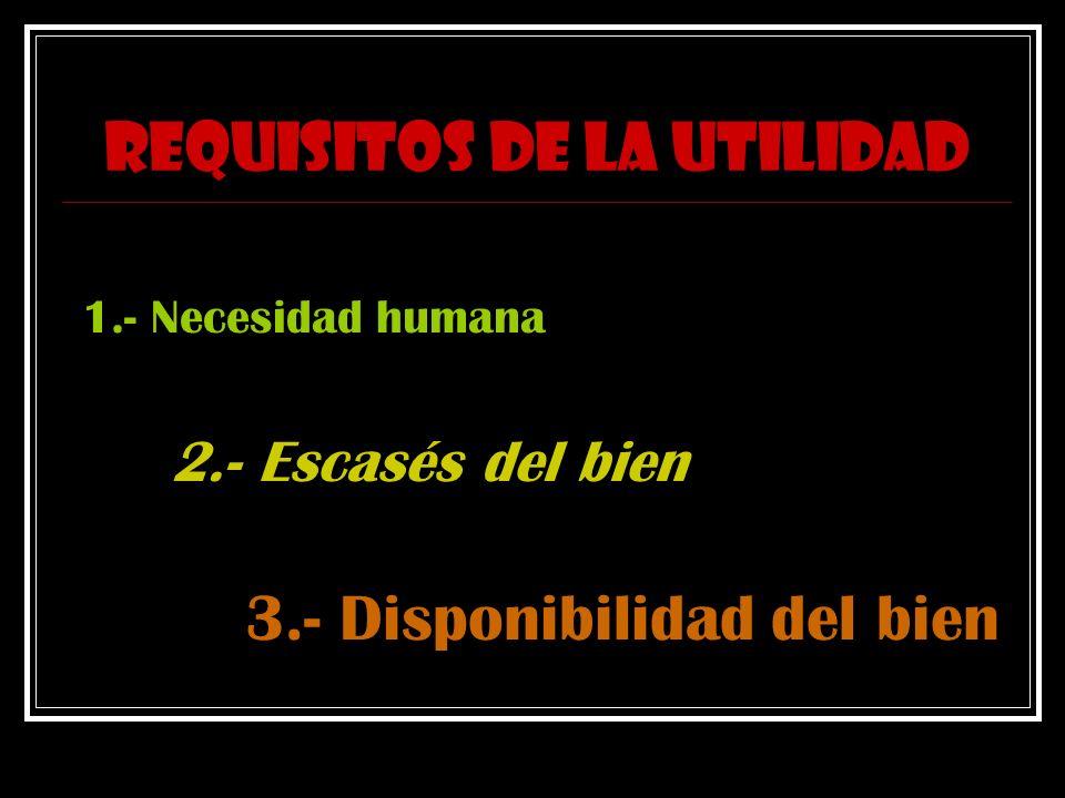 REQUISITOS DE LA UTILIDAD 1.- Necesidad humana 2.- Escasés del bien 3.- Disponibilidad del bien
