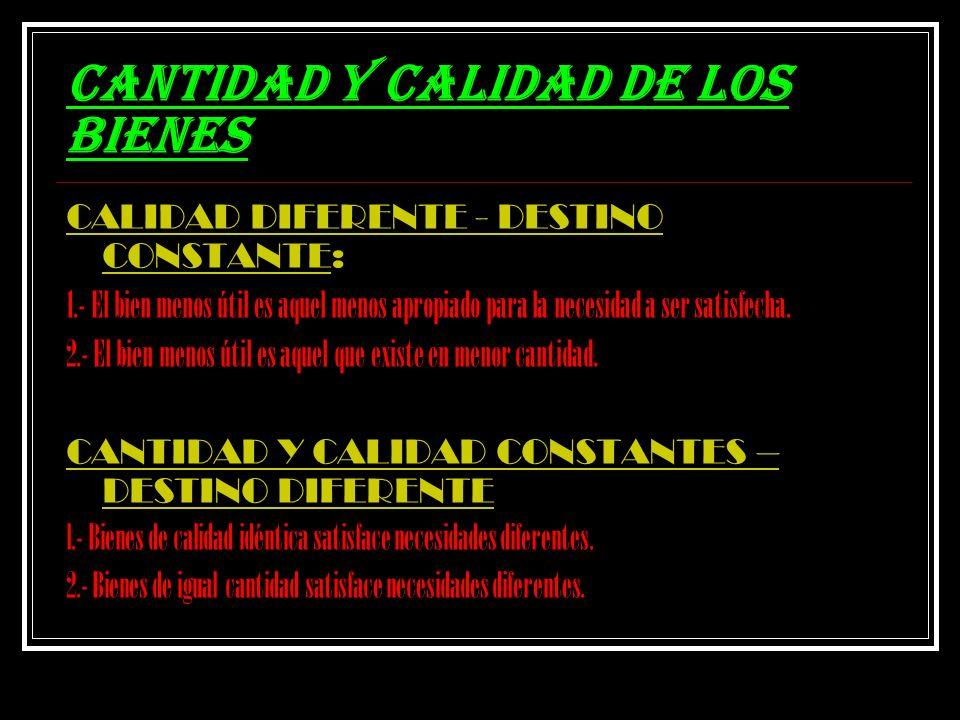 CANTIDAD Y CALIDAD DE LOS BIENES CALIDAD DIFERENTE - DESTINO CONSTANTE: 1.- El bien menos útil es aquel menos apropiado para la necesidad a ser satisf
