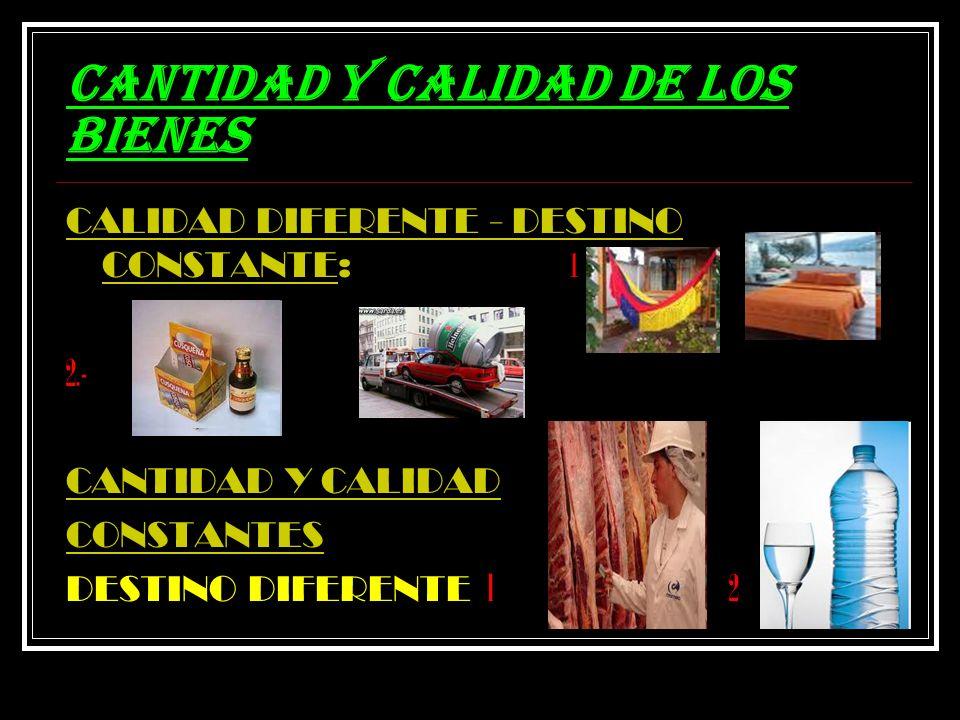 CANTIDAD Y CALIDAD DE LOS BIENES CALIDAD DIFERENTE - DESTINO CONSTANTE: 1 2.- CANTIDAD Y CALIDAD CONSTANTES DESTINO DIFERENTE l 2