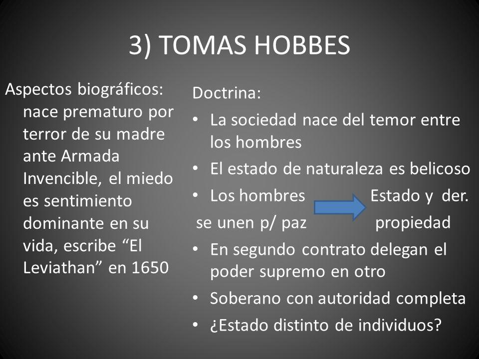 3) TOMAS HOBBES Aspectos biográficos: nace prematuro por terror de su madre ante Armada Invencible, el miedo es sentimiento dominante en su vida, escr