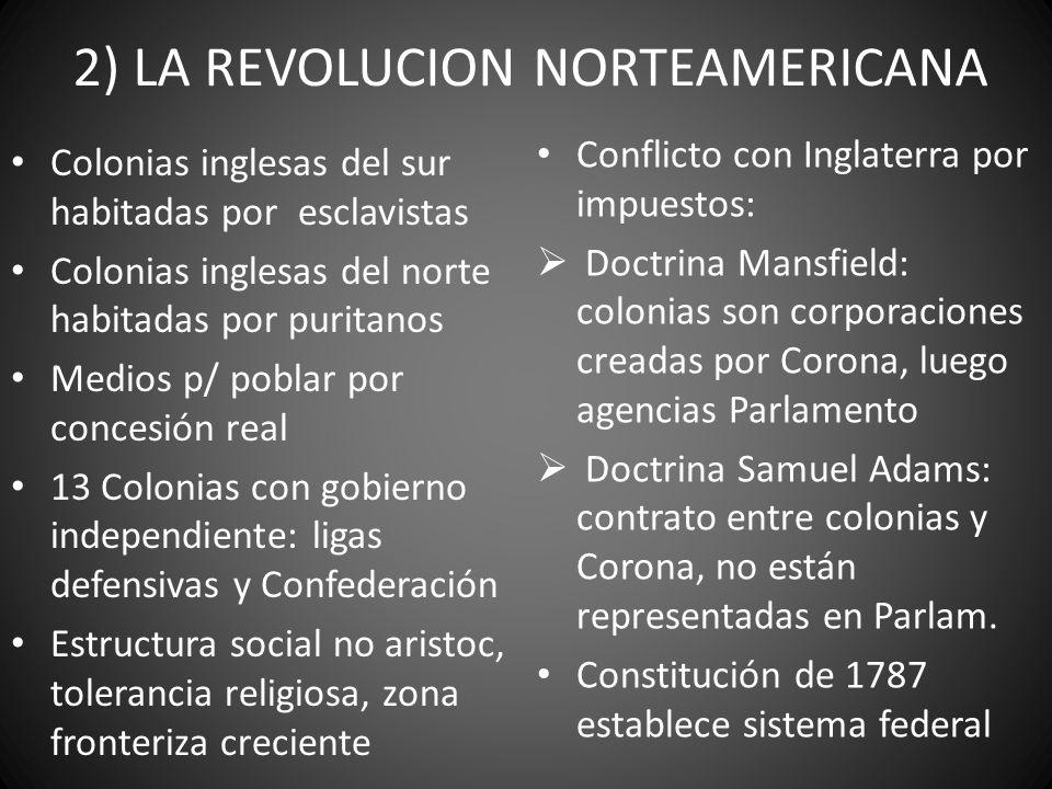 2) LA REVOLUCION NORTEAMERICANA Colonias inglesas del sur habitadas por esclavistas Colonias inglesas del norte habitadas por puritanos Medios p/ pobl