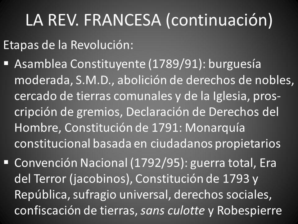 LA REV. FRANCESA (continuación) Etapas de la Revolución: Asamblea Constituyente (1789/91): burguesía moderada, S.M.D., abolición de derechos de nobles