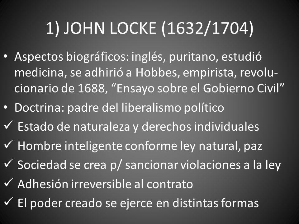 1) JOHN LOCKE (1632/1704) Aspectos biográficos: inglés, puritano, estudió medicina, se adhirió a Hobbes, empirista, revolu- cionario de 1688, Ensayo s