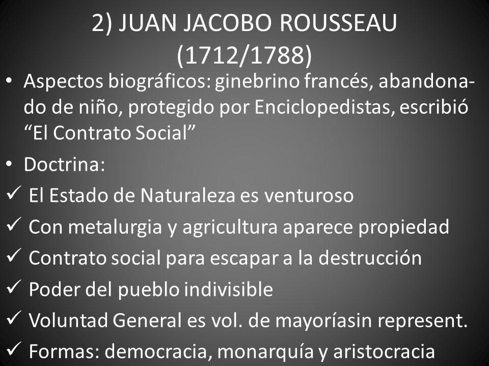 2) JUAN JACOBO ROUSSEAU (1712/1788) Aspectos biográficos: ginebrino francés, abandona- do de niño, protegido por Enciclopedistas, escribió El Contrato