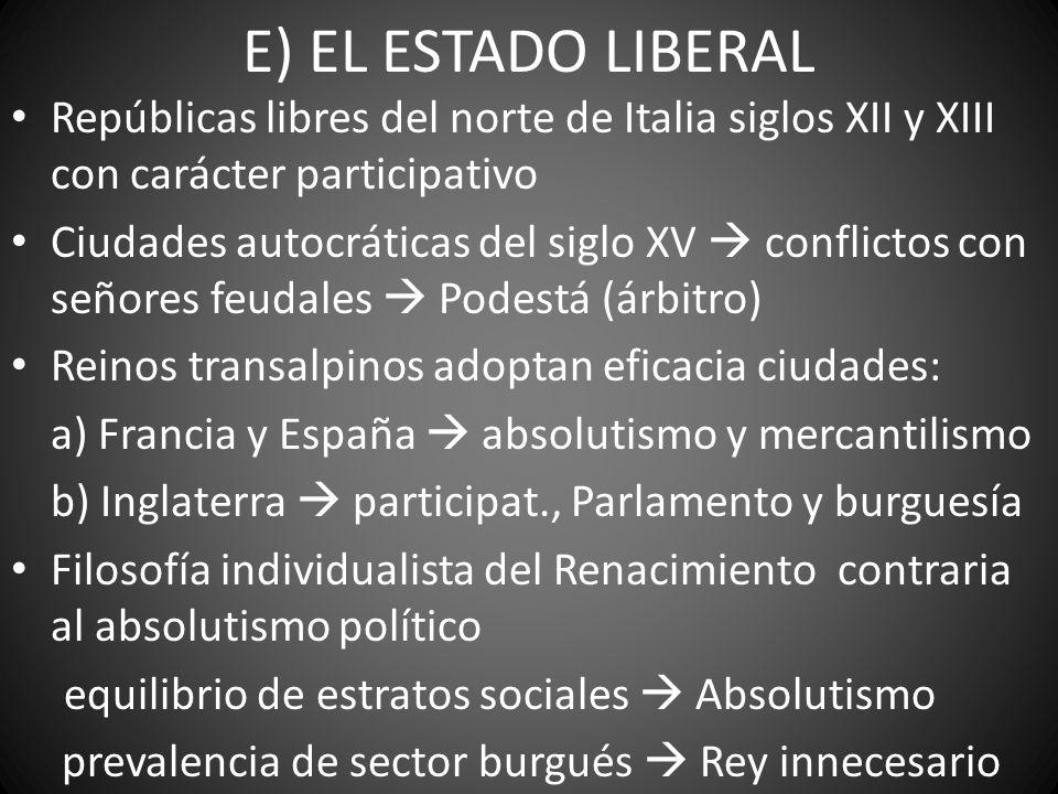 E) EL ESTADO LIBERAL Repúblicas libres del norte de Italia siglos XII y XIII con carácter participativo Ciudades autocráticas del siglo XV conflictos