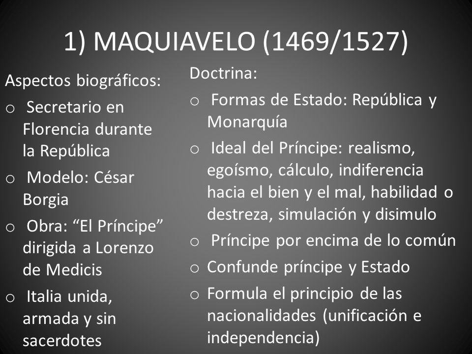1) MAQUIAVELO (1469/1527) Aspectos biográficos: o Secretario en Florencia durante la República o Modelo: César Borgia o Obra: El Príncipe dirigida a L