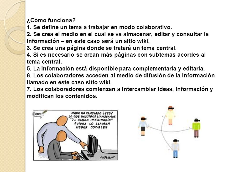¿Cómo funciona? 1. Se define un tema a trabajar en modo colaborativo. 2. Se crea el medio en el cual se va almacenar, editar y consultar la informació
