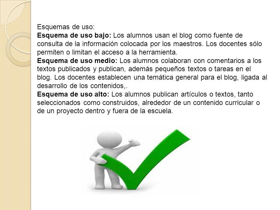 Esquemas de uso: Esquema de uso bajo: Los alumnos usan el blog como fuente de consulta de la información colocada por los maestros. Los docentes sólo