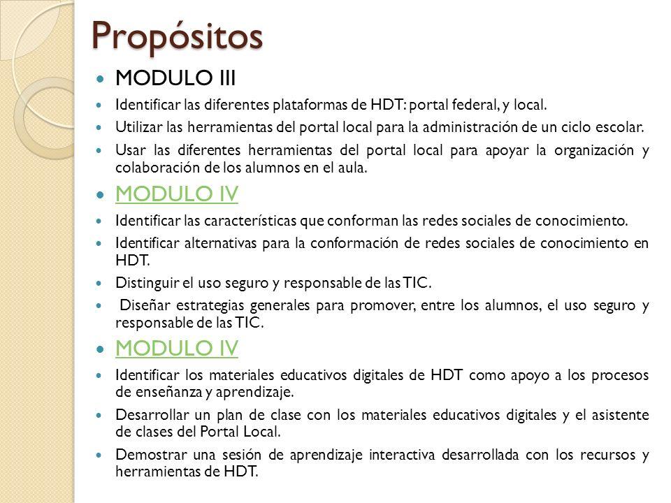 Propósitos MODULO III Identificar las diferentes plataformas de HDT: portal federal, y local. Utilizar las herramientas del portal local para la admin