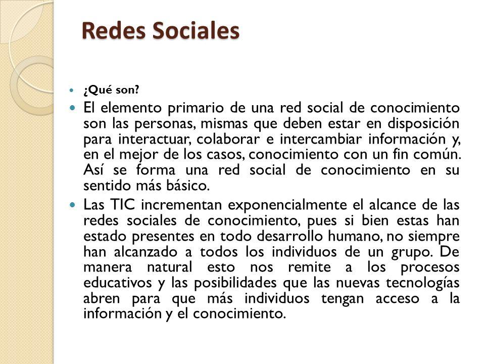 Redes Sociales ¿Qué son? El elemento primario de una red social de conocimiento son las personas, mismas que deben estar en disposición para interactu