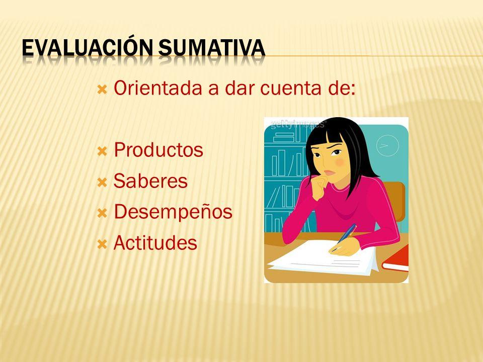 Orientada a dar cuenta de: Productos Saberes Desempeños Actitudes