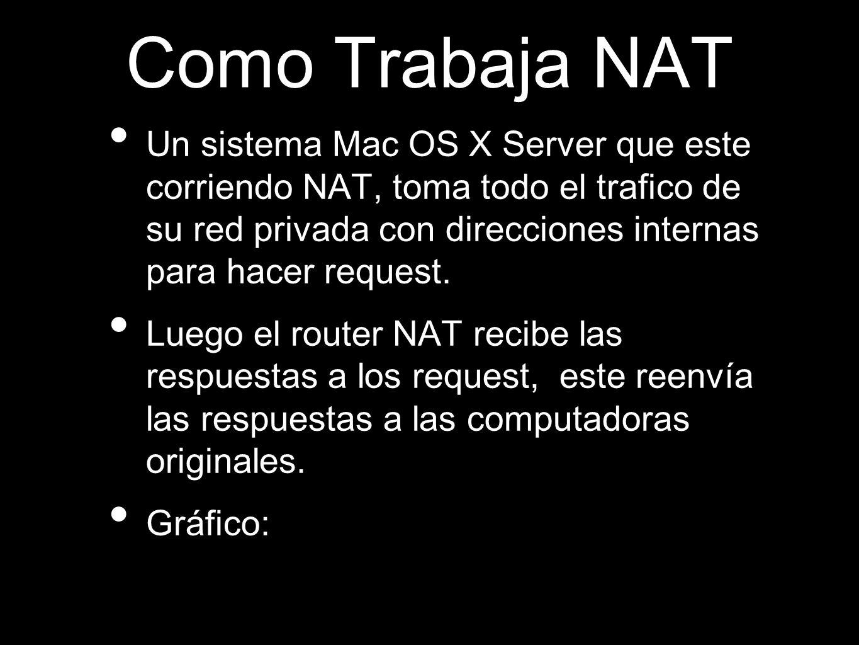 Como Trabaja NAT Un sistema Mac OS X Server que este corriendo NAT, toma todo el trafico de su red privada con direcciones internas para hacer request