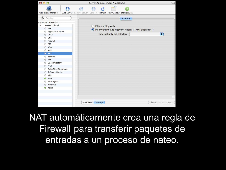 NAT automáticamente crea una regla de Firewall para transferir paquetes de entradas a un proceso de nateo.