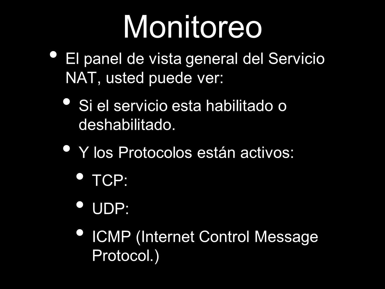 Monitoreo El panel de vista general del Servicio NAT, usted puede ver: Si el servicio esta habilitado o deshabilitado. Y los Protocolos están activos: