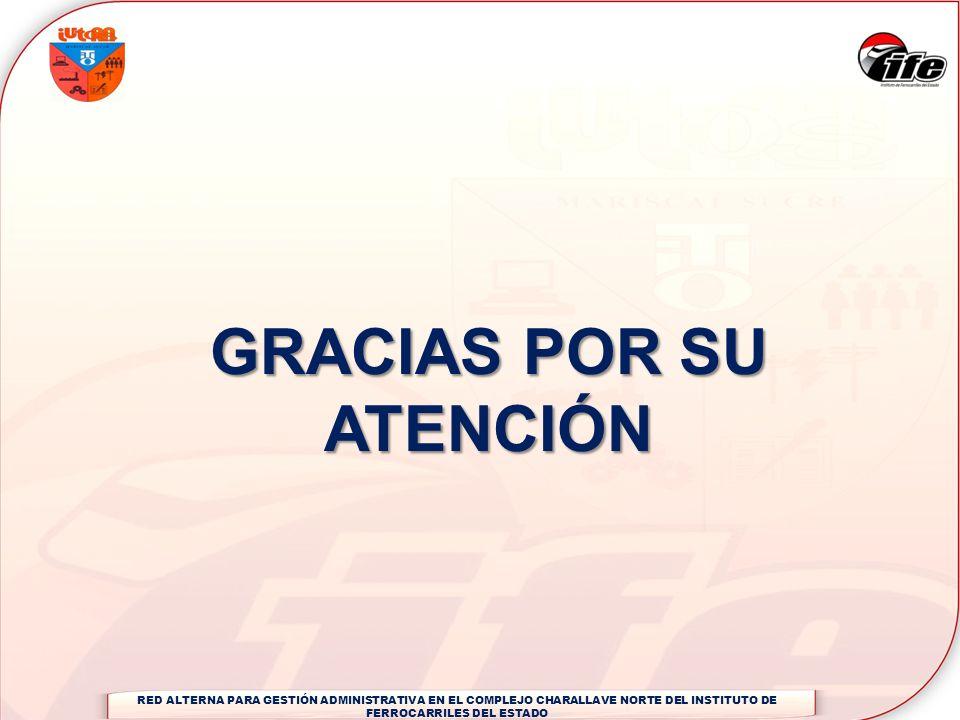 GRACIAS POR SU ATENCIÓN RED ALTERNA PARA GESTIÓN ADMINISTRATIVA EN EL COMPLEJO CHARALLAVE NORTE DEL INSTITUTO DE FERROCARRILES DEL ESTADO
