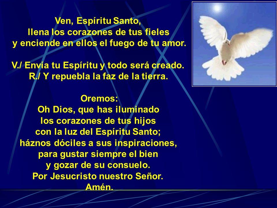 Ven, Espíritu Santo, llena los corazones de tus fieles y enciende en ellos el fuego de tu amor. V./ Envía tu Espíritu y todo será creado. R./ Y repueb