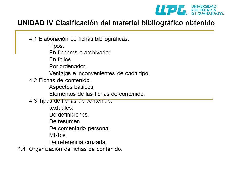 UNIDAD IV Clasificación del material bibliográfico obtenido 4.1 Elaboración de fichas bibliográficas. Tipos. En ficheros o archivador En folios Por or